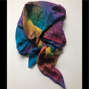 Accessories - New multi watercolor square Silk Scarf 🧣